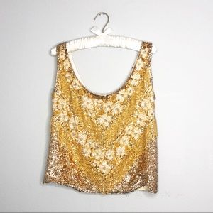 Vintage Gold Sequins & Beaded Blouse